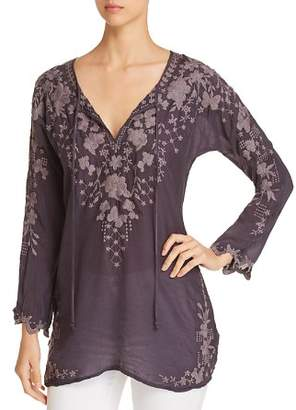 Johnny Was Butterfly Embroidered Tunic Top