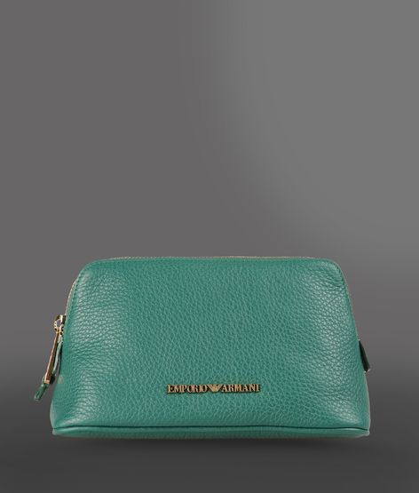 Emporio Armani Zip Around Beauty Case In Hammered Leather