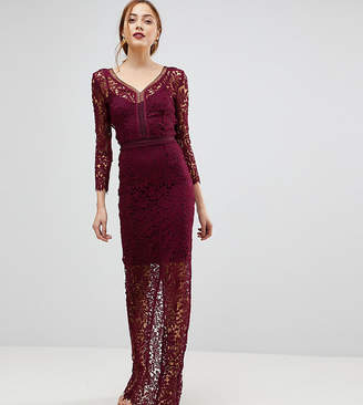 Little Mistress Tall Long Sleeve Lace Maxi Dress