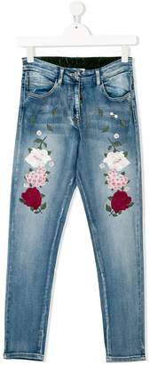 MonnaLisa TEEN embroidered flowers jeans