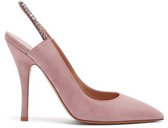 Valentino Crystal Embellished Slingback Suede Pumps - Womens - Light Pink