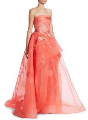 Monique Lhuillier Floral Embellished Hi-Lo Gown