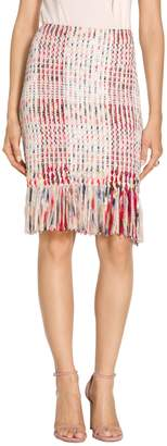 St. John Fringe Macro Plaid Skirt