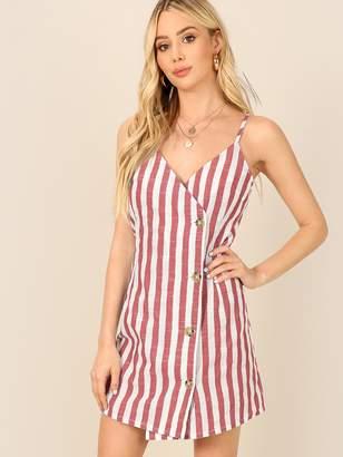Shein Asymmetric Buttoned Placket Striped Cami Dress
