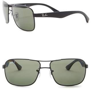 Ray-Ban Polarized 59mm Square Metal Sunglasses