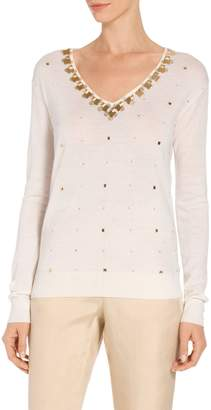 St. John Jersey Knit V-Neck Embellished Sweater