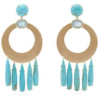 Irene Neuwirth 18kt Gold, Aquamarine & Turquoise Earrings - Womens - Blue