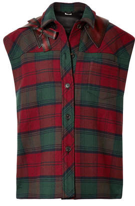 Miu Miu Leather-trimmed Tartan Wool-blend Felt Gilet - Red