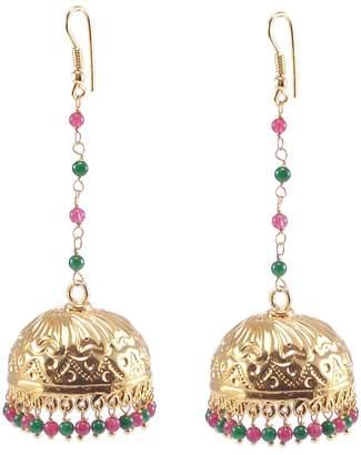 Jaipur Silvestoo Red & Green Crystal Gemstone Gold Plated Jhumka PG-121199