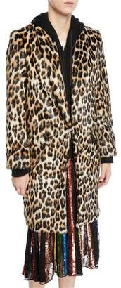 Alice + Olivia Kylie Hoodie Long Leopard Faux-Fur Coat