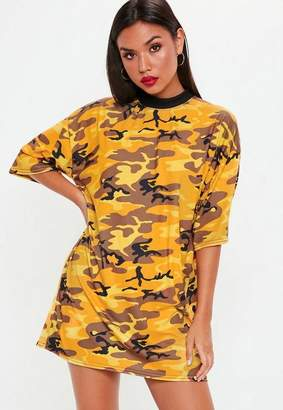 Missguided Yellow Camo Oversized T Shirt Dress