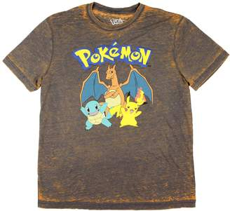 Pokemon Rex Distributor Charizard Squirtle And Pikachu Acid Wash Mens T-Shirt