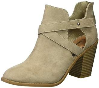 Rampage Women's Vedette Side Cut Out Chunky Stacked Heel Bootie Ankle Boot