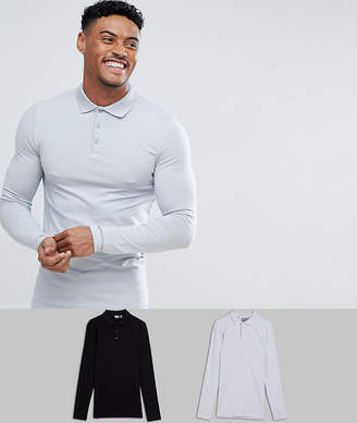 Asos Longline Muscle Fit Jersey Long Sleeve Polo 2 Pack SAVE