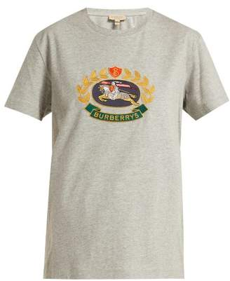 Burberry Archive Crest Embroidered Cotton T Shirt - Womens - Grey