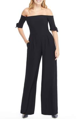 Gal Meets Glam Meredith Crepe Off the Shoulder Jumpsuit
