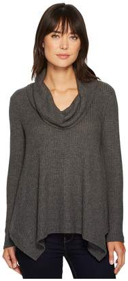 Bobeau B Collection by Analia Waffle Knit Top Women's Long Sleeve Pullover