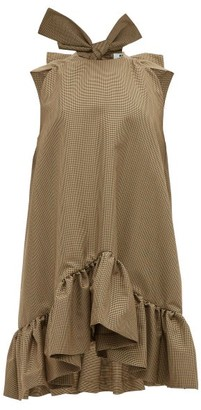 MSGM Houndstooth Wool Blend Mini Dress - Womens - Brown