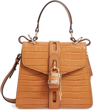 Chloé Small Aby Croc Embossed Leather Shoulder Bag
