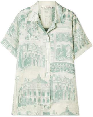 Acne Studios Rellah Printed Linen Shirt - Green