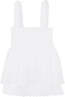 Tory Burch - Smocked Broderie Anglaise Cotton-blend Top - White $295 thestylecure.com