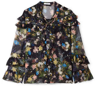 Erdem Margery Ruffled Floral-print Silk-voile Blouse - Black