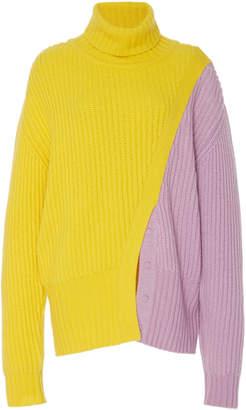 Prabal Gurung Color Blocked Cashmere Turtleneck Sweater