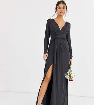 TFNC Bridesmaid twist knot wrap maxi dress in grey