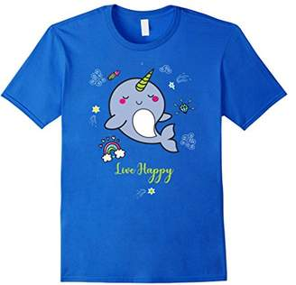 Cute Narwhal Kawaii Shirt Unicorn Sea TShirt Live Happy Life
