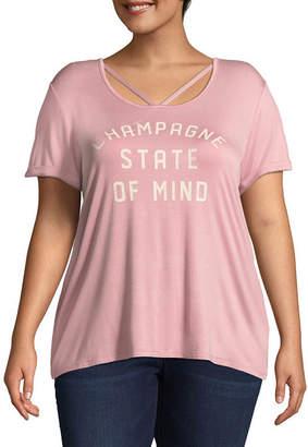 Boutique + + Short Sleeve Scoop Neck Graphic T-Shirt - Plus