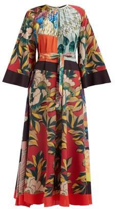 Etro Floral Print Silk Crepe De Chine Maxi Dress - Womens - Multi