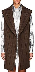 Calvin Klein Women's Herringbone Wool-Silk Oversized Vest-Brown