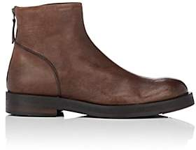 Barneys New York Men's Leather Back-Zip Boots-Brown