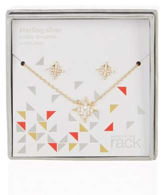 Nordstrom Rack Pave CZ North Star Pendant Necklace & Stud Earrings Set