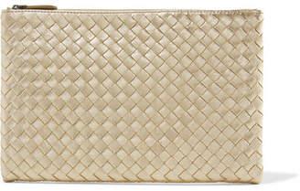 Bottega Veneta Metallic Intrecciato Leather Pouch - Gold