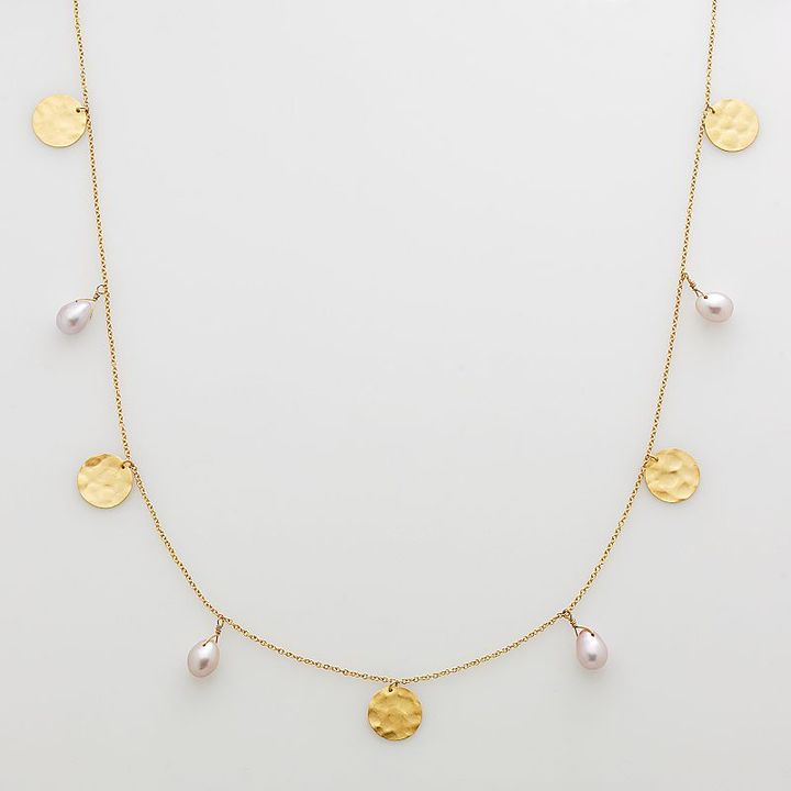 14k Gold-Over-Silver Dyed Freshwater Cultured Pearl Long Station Necklace