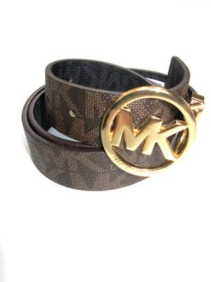Michael Kors Womens Twist Reversible Circle Logo Belt Gold/ Brown & Black (L)