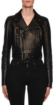 Off-White Embossed-Back Leather Biker Jacket