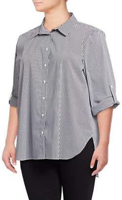 Calvin Klein Plus Striped Button-Down Shirt