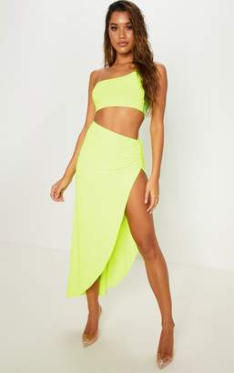 PrettyLittleThing Pink Ruched Side Split Midaxi Skirt