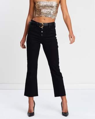 Miss Selfridge Crop Flare Button Fly Jeans