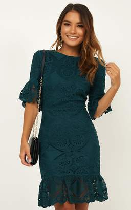 Showpo Hold Your Head High Dress in emerald lace - 8 (S) Curve & Plus