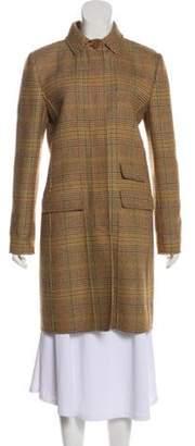 Oscar de la Renta Wool Houndstooth Coat Tan Wool Houndstooth Coat