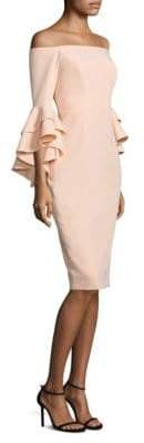 Milly Selena Italian Cady Off-The-Shoulder Bell-Sleeve Dress