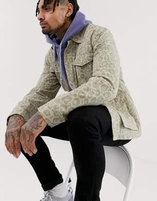 Asos Design DESIGN utility jacket in washed leopard print