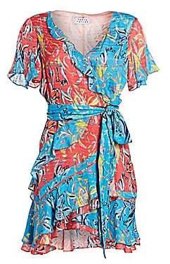 Tanya Taylor Women's Bianka Two-Tone Print Wrap Dress - Size 0