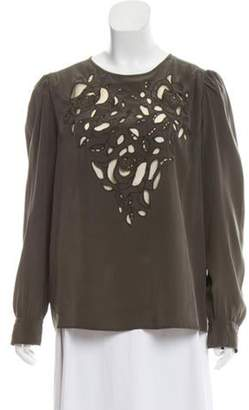 Isabel Marant Embroidered Trim Silk Blouse Olive Embroidered Trim Silk Blouse