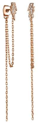 Karl Lagerfeld Rose Gold Plated Pave Swarovski Crystal Accented Lightning Bolt Chain Earrings