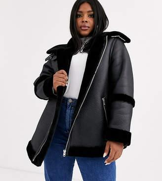 Asos DESIGN Curve bonded aviator coat in black