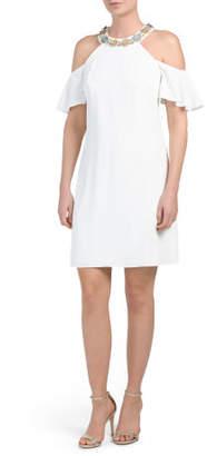 Cold Shoulder Embellished Short Dress